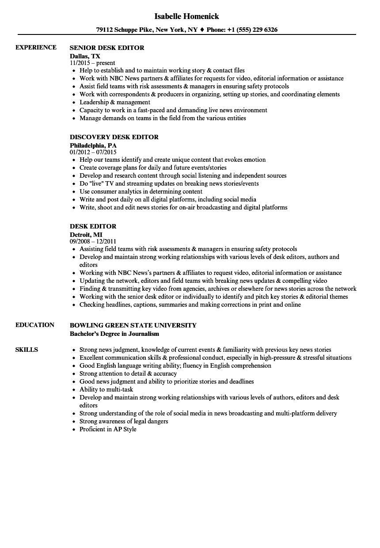 desk editor resume samples  velvet jobs