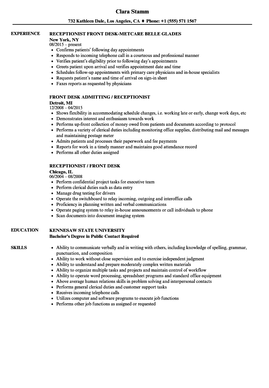 resume examples for front desk receptionist - Yolar.cinetonic.co
