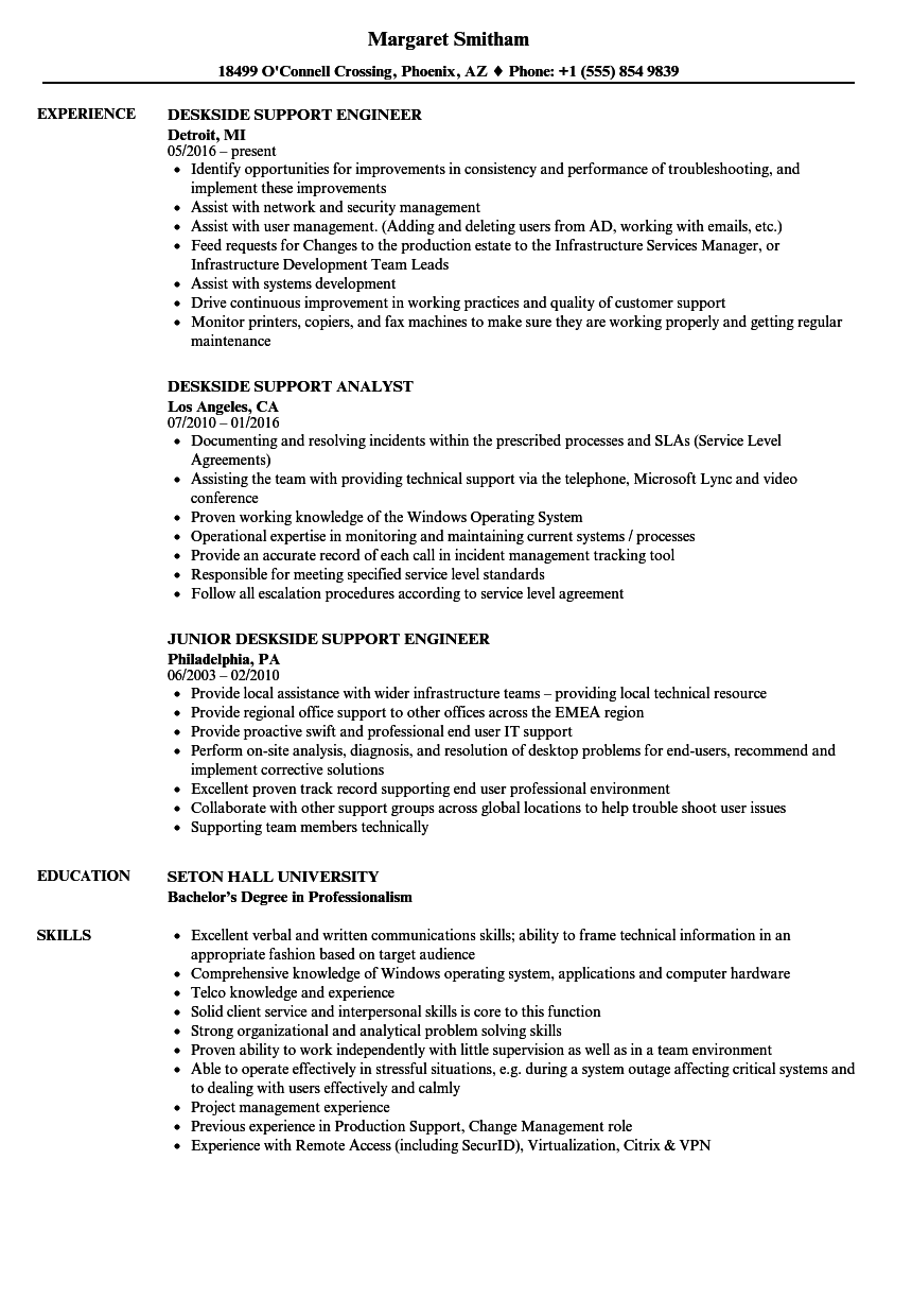 deskside support resume samples