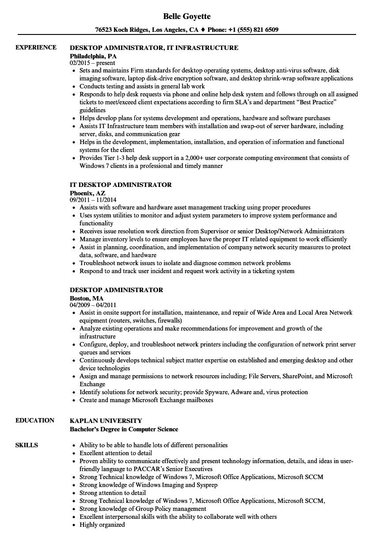 Download Desktop Administrator Resume Sample As Image File