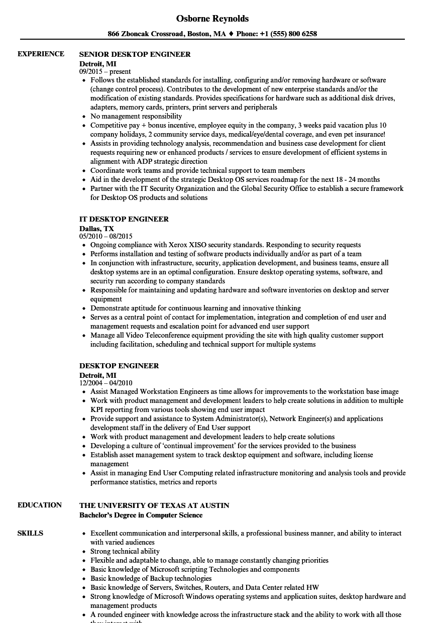 Desktop Engineer Resume Samples | Velvet Jobs
