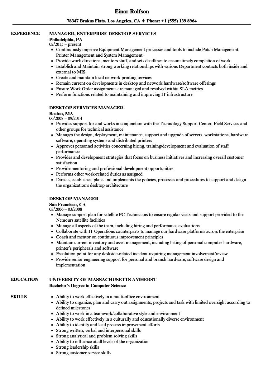 Desktop Manager Resume Samples | Velvet Jobs