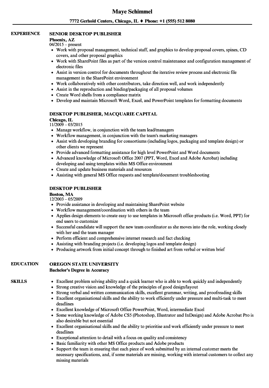 desktop publisher resume samples