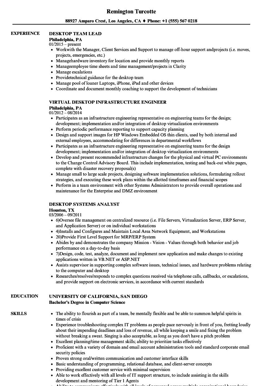 desktop resume samples