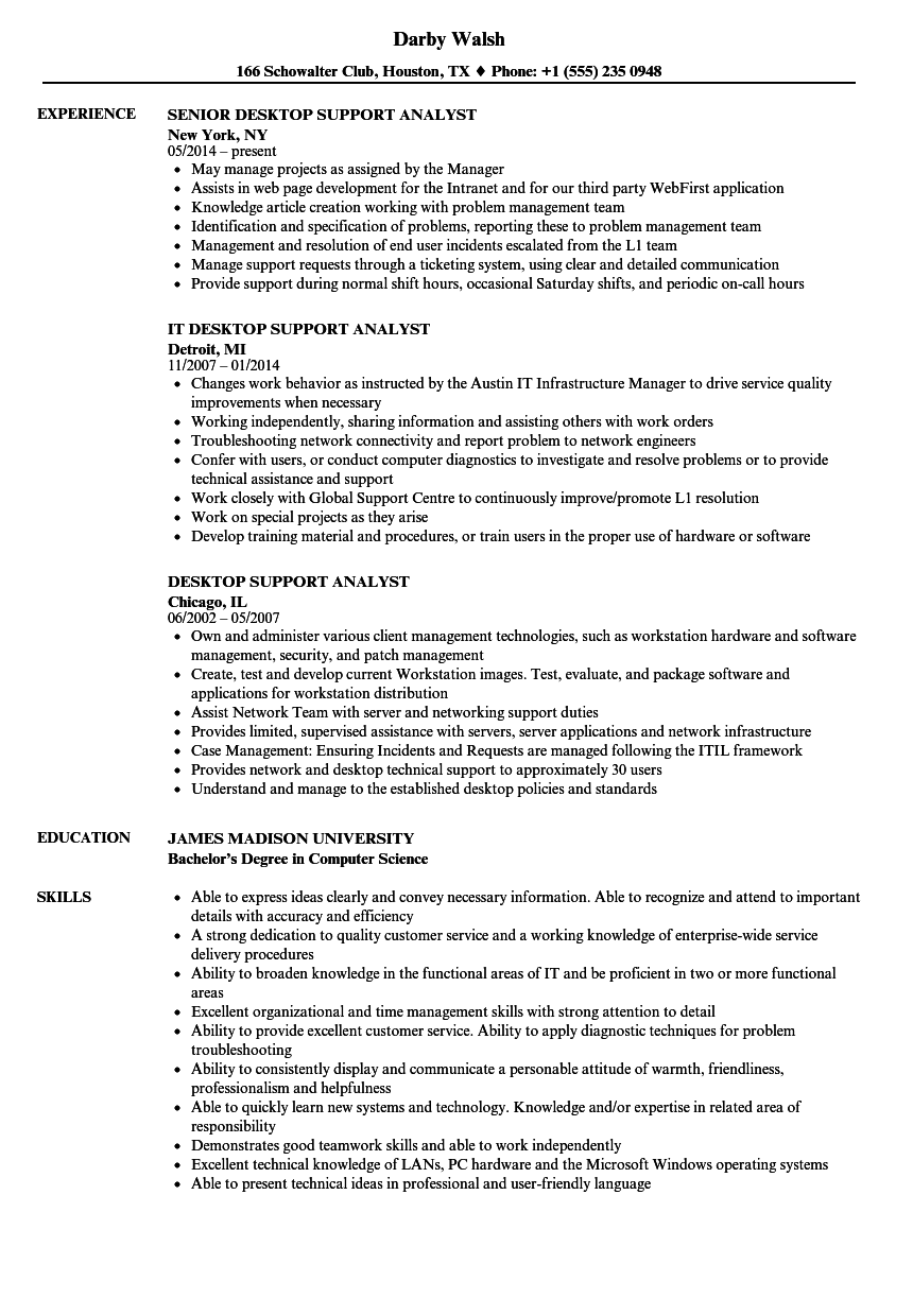 Desktop Support Analyst Resume Samples | Velvet Jobs