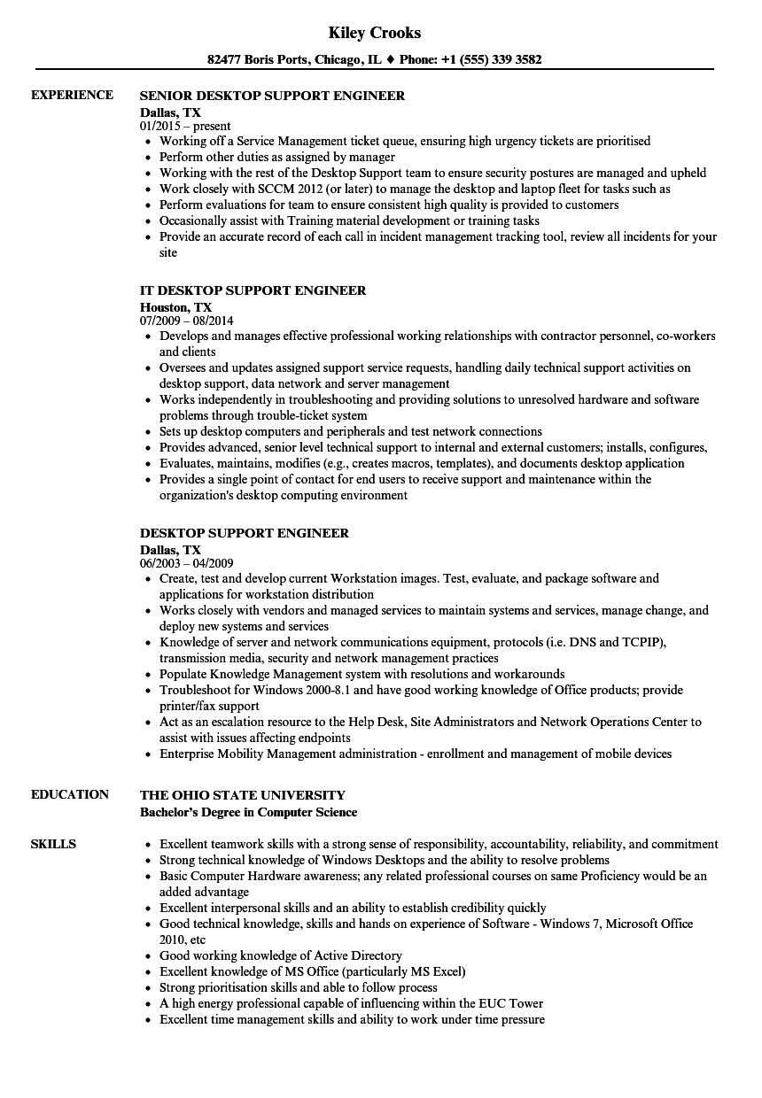 Desktop support resume examples
