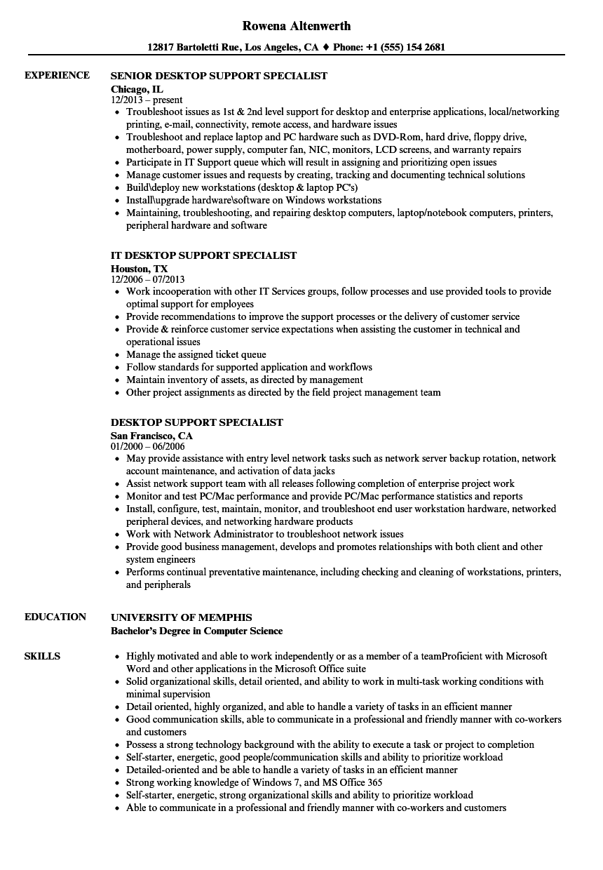 Desktop Support Specialist Resume Samples Velvet Jobs