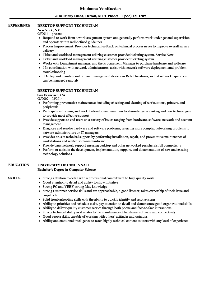 desktop support technician resume samples