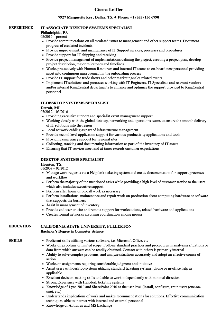 desktop systems specialist resume samples