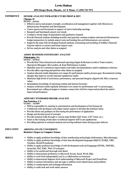 Dev Analyst Resume Samples Velvet Jobs