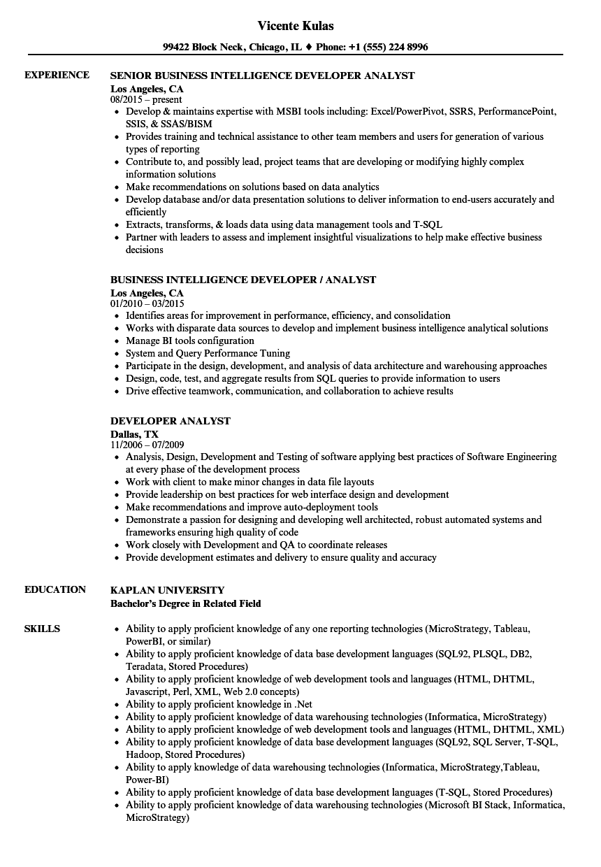 Developer Analyst Resume Samples Velvet Jobs