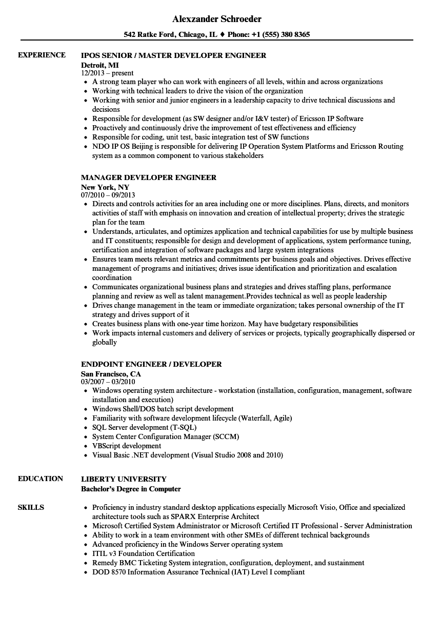 Developer Engineer Resume Samples Velvet Jobs