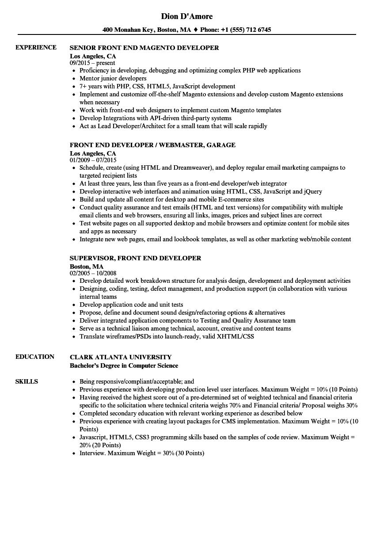 developer front end resume samples