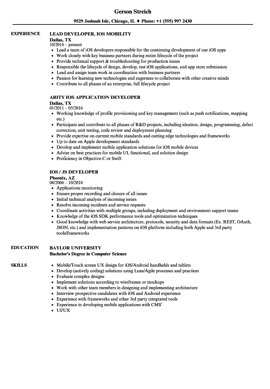 Developer Ios Resume Samples Velvet Jobs