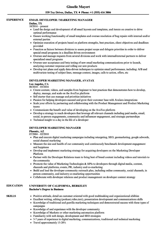 Developer Marketing Manager Resume Samples | Velvet Jobs
