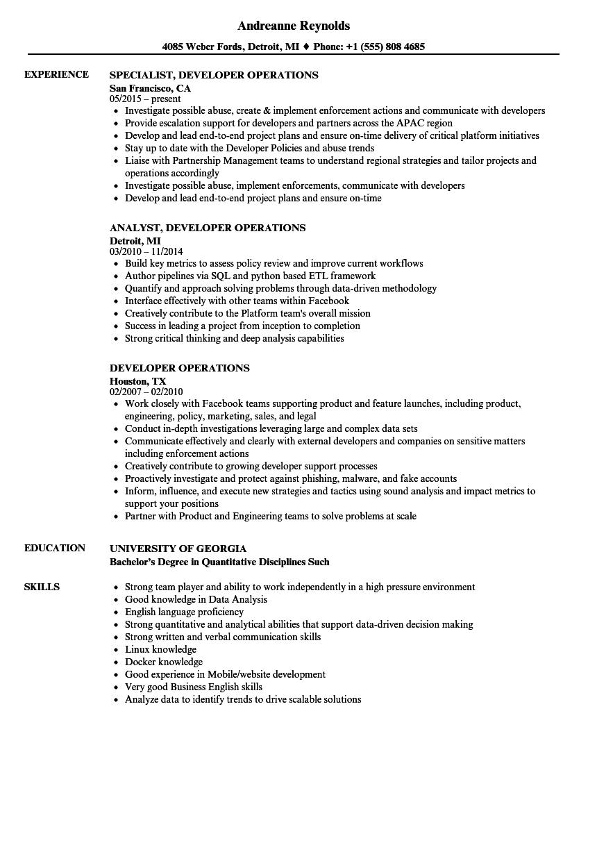 Developer Operations Resume Samples | Velvet Jobs
