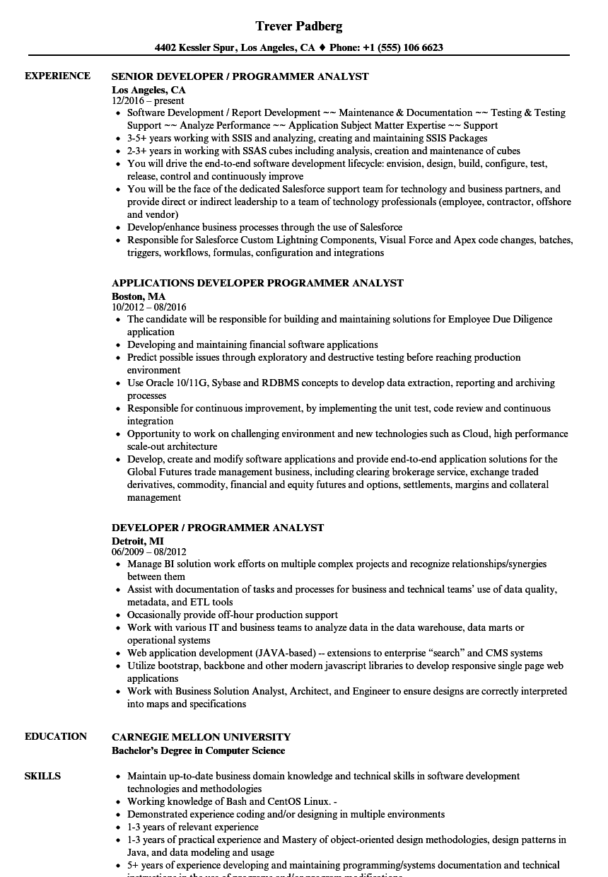 Developer / Programmer Analyst Resume Samples | Velvet Jobs