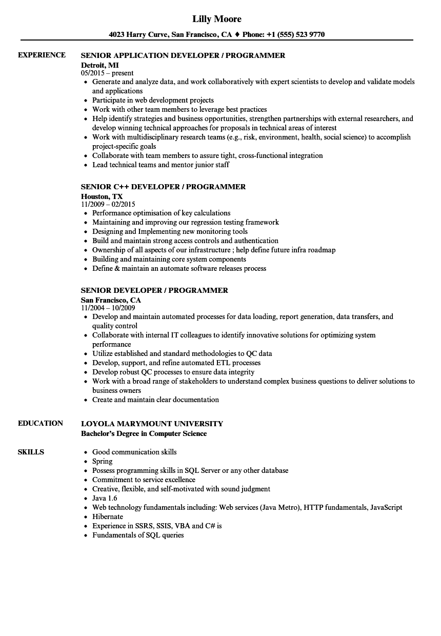developer programmer resume samples velvet jobs