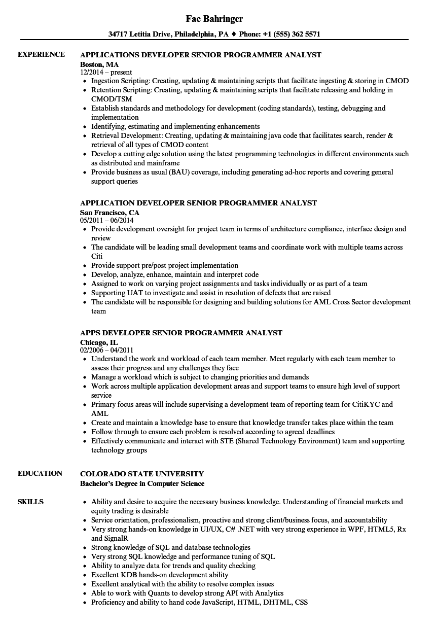 download developer senior programmer analyst resume sample as image file - Programmer Analyst Sample Resume