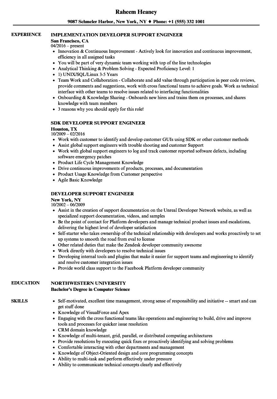 developer support engineer resume samples