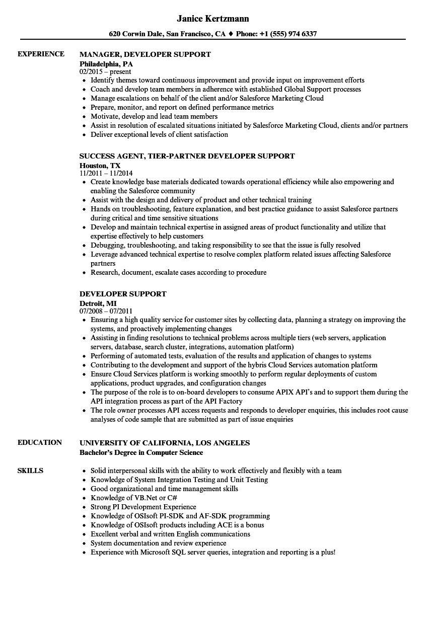 Wonderful Download Developer Support Resume Sample As Image File
