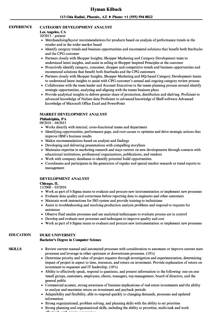 Development Analyst Resume Samples | Velvet Jobs