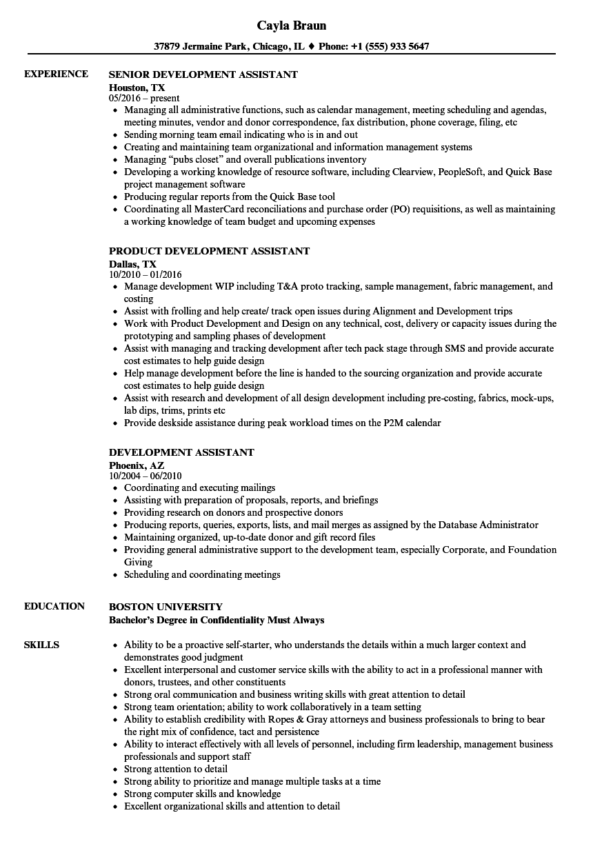 Development Assistant Resume Samples Velvet Jobs