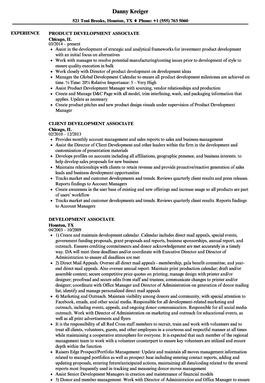 Development Associate Resume Samples | Velvet Jobs