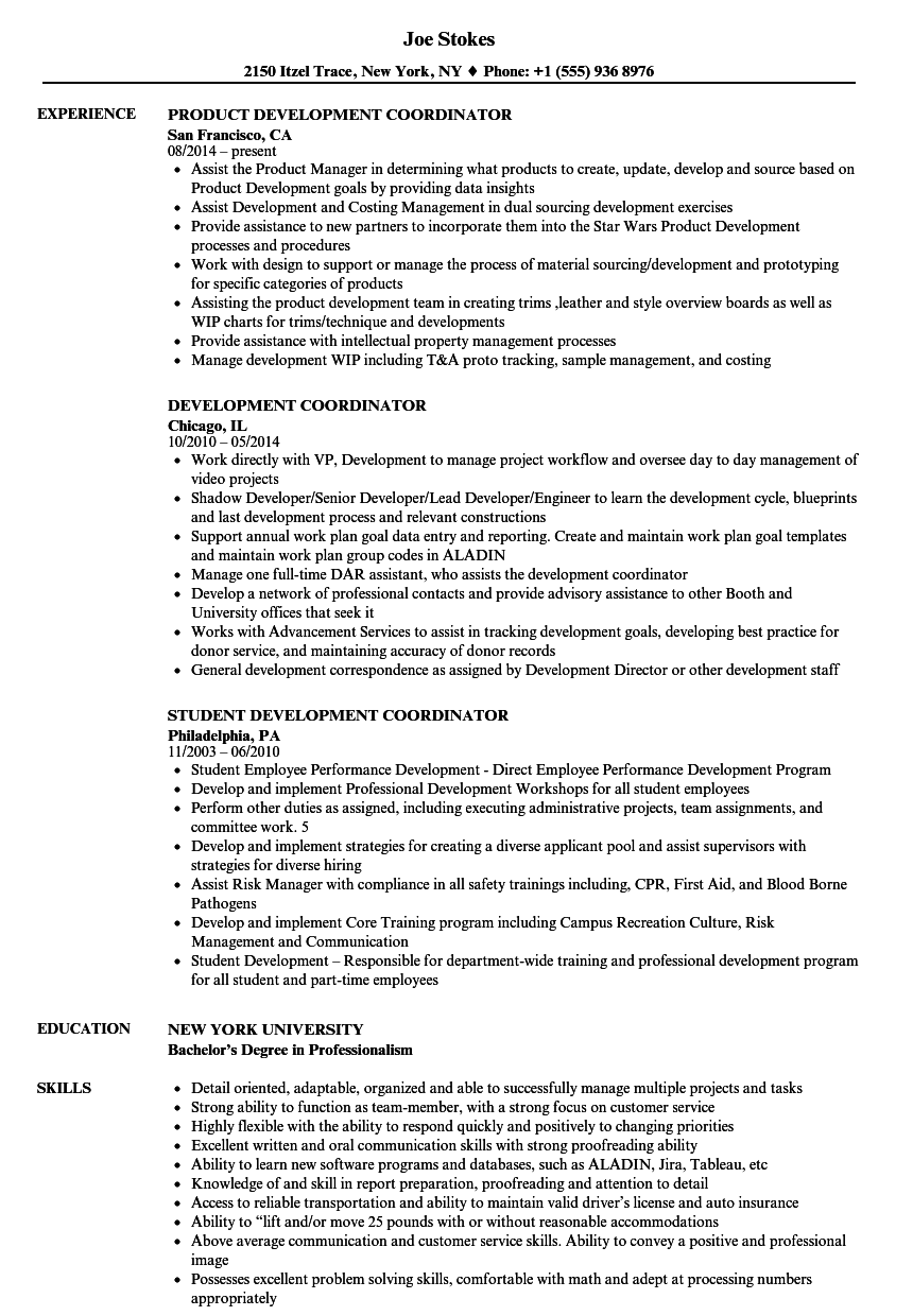 download development coordinator resume sample as image file
