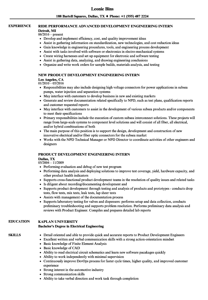 Download Development Engineering Intern Resume Sample As Image File  Engineering Internship Resume