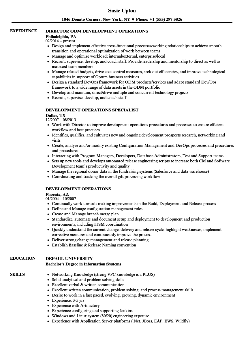 download development operations resume sample as image file - Director Of Operations Resume