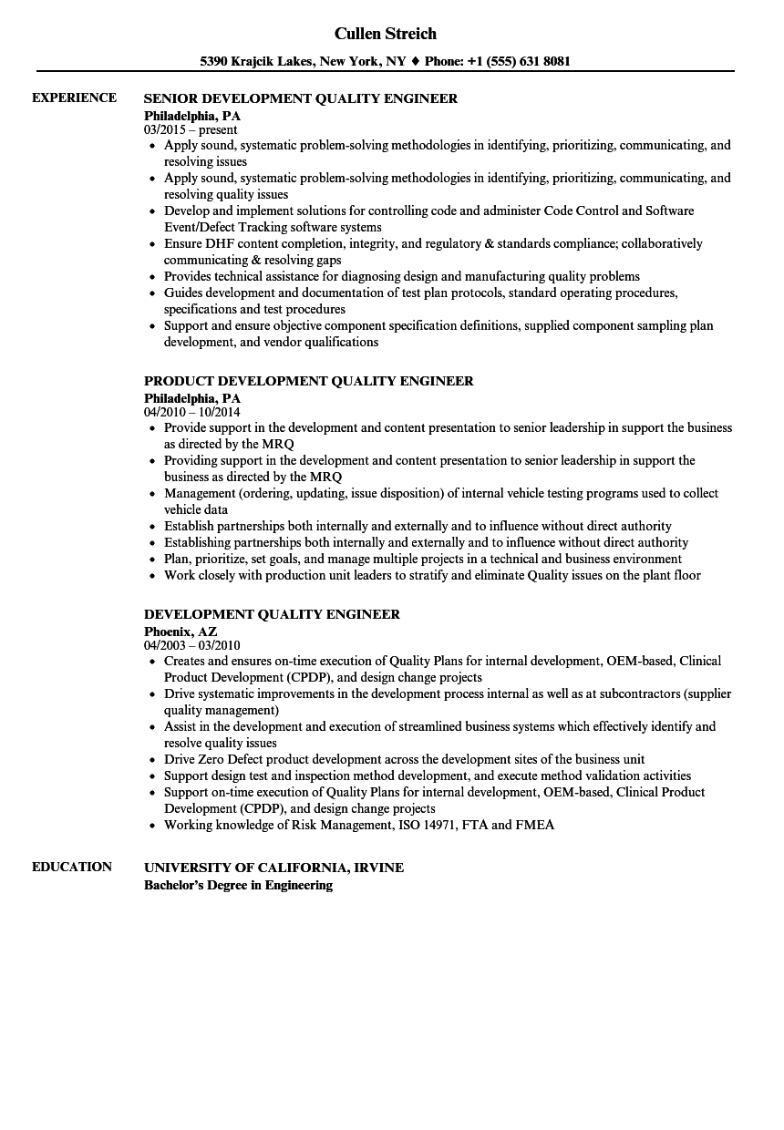 Development Quality Engineer Resume Samples Velvet Jobs