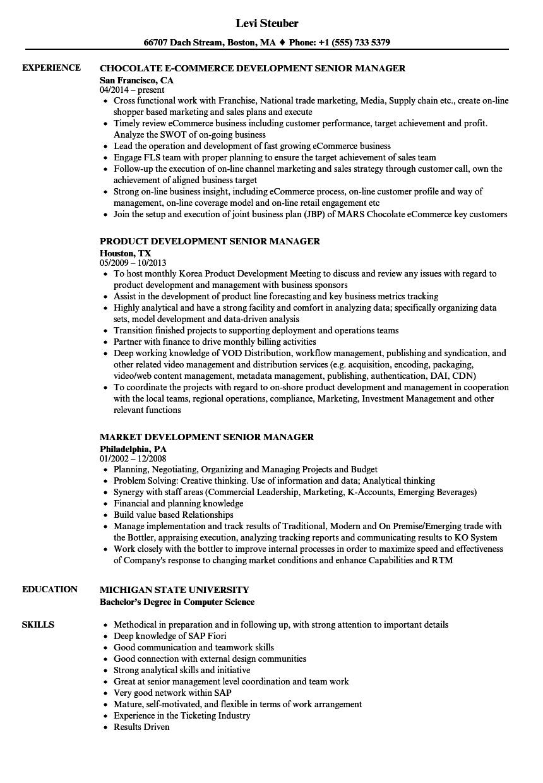 Development Senior Manager Resume Samples | Velvet Jobs