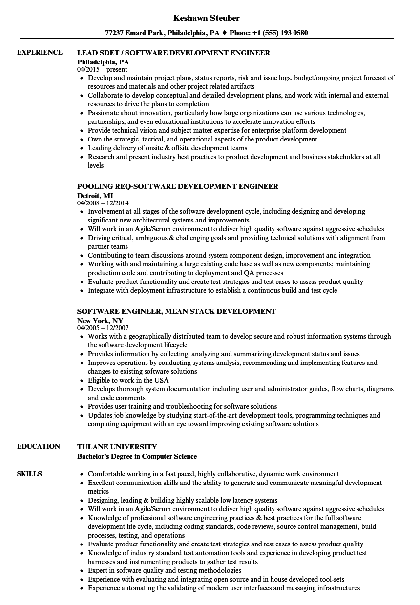 Development Software Engineer Resume Samples | Velvet Jobs