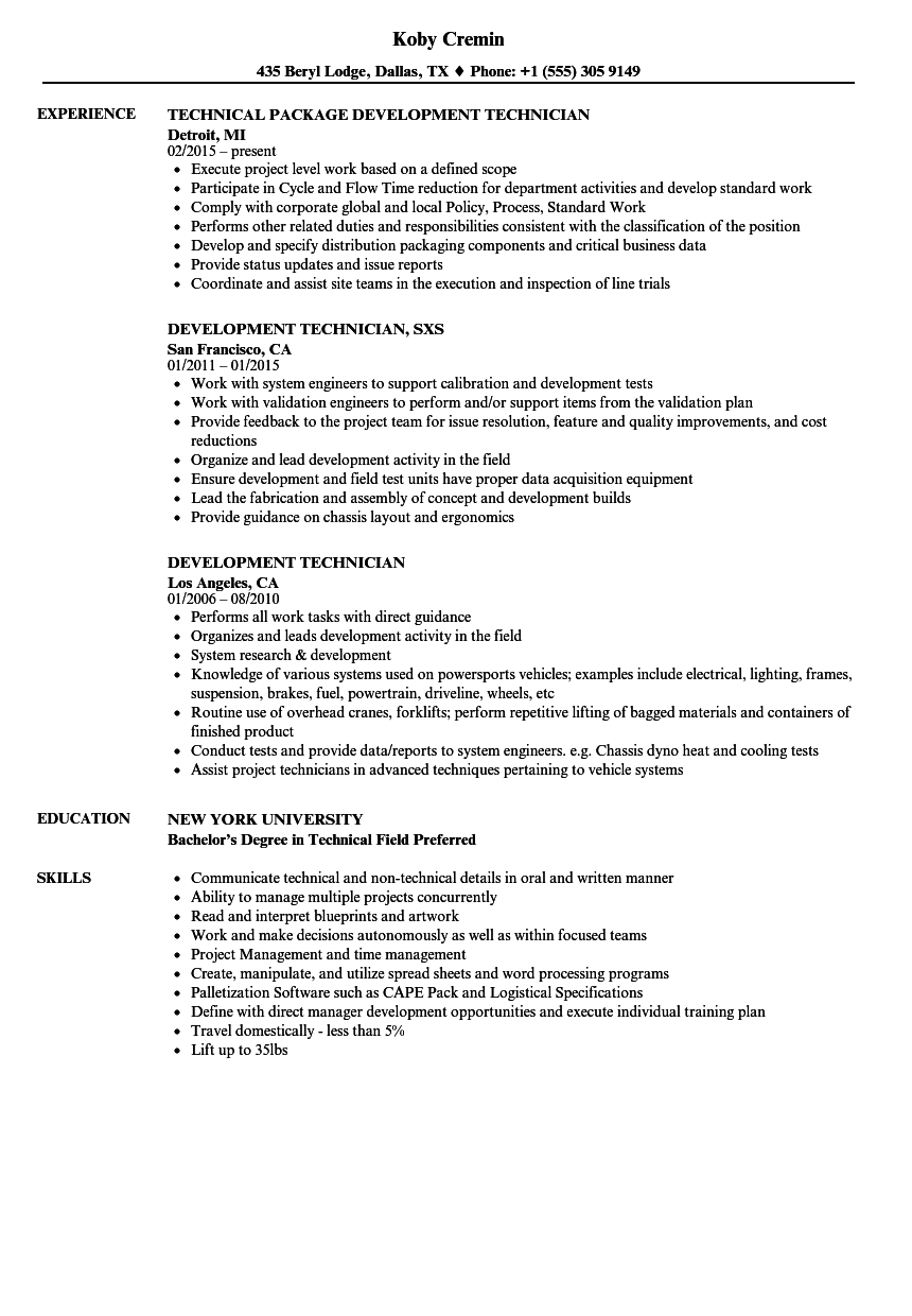 development technician resume samples velvet jobs