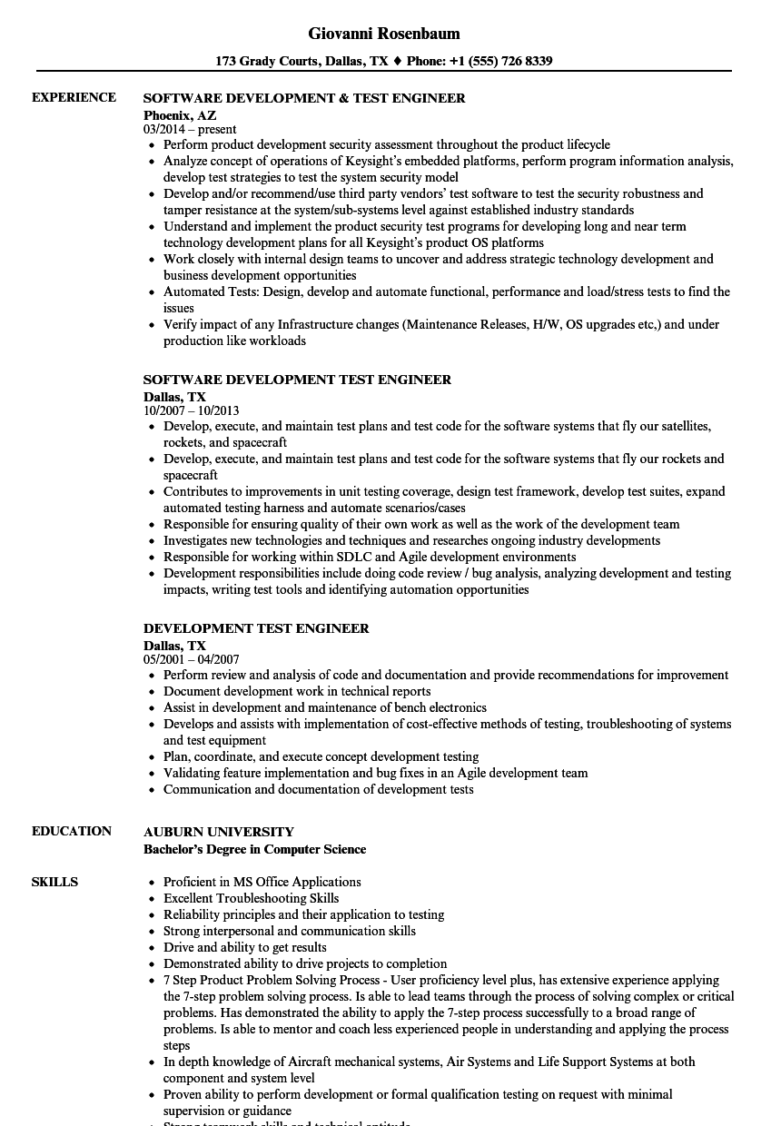 Development test engineer resume samples velvet jobs for Sample resume for software test engineer with experience