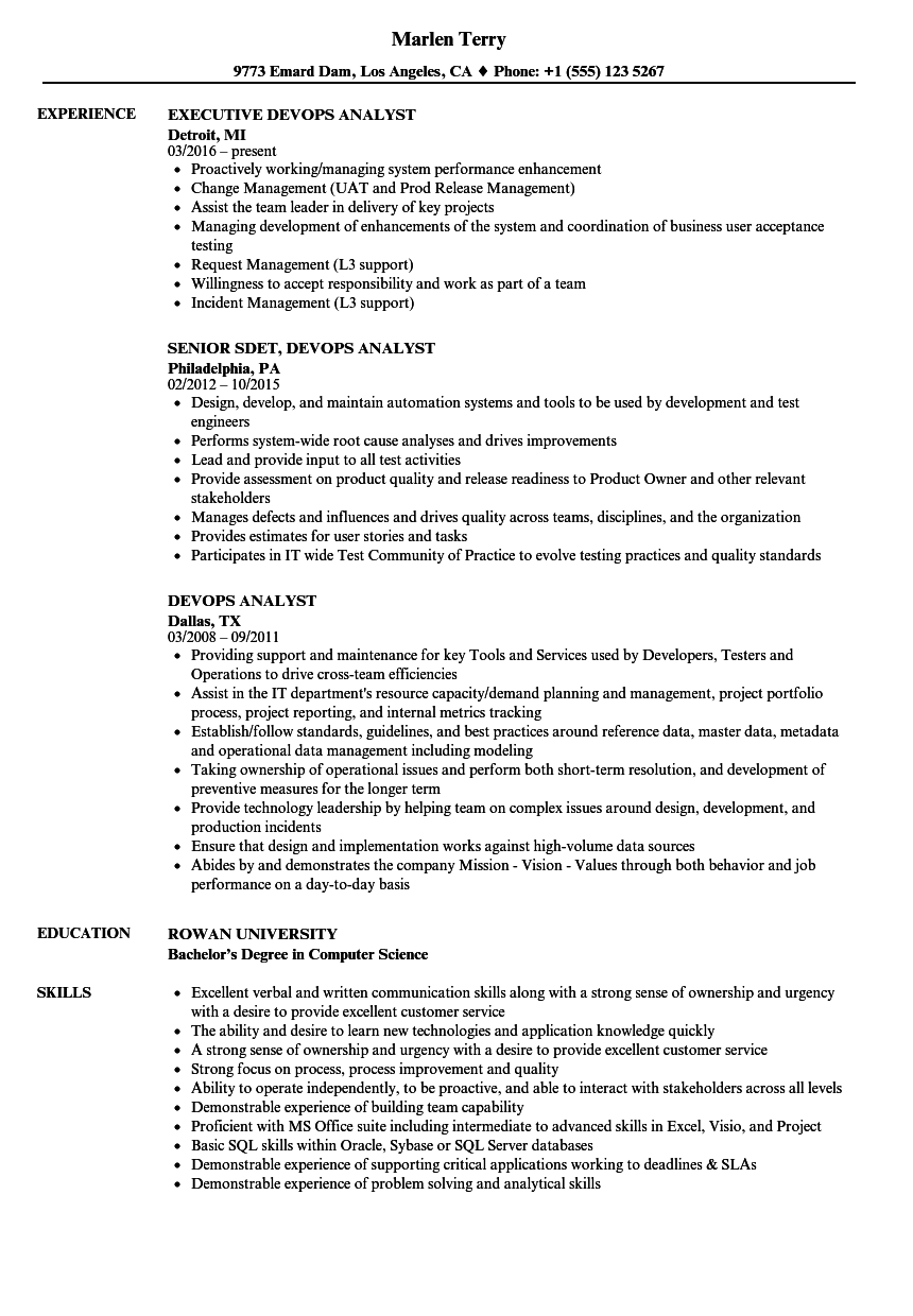 devops analyst resume samples