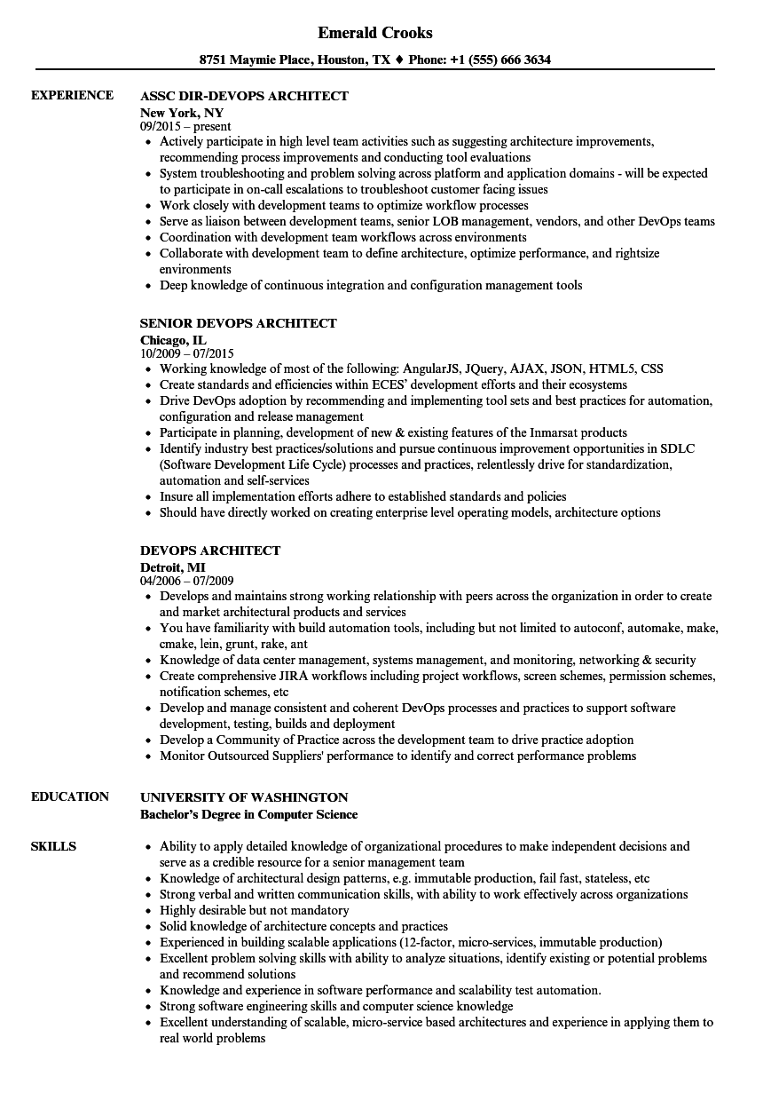 Devops Architect Resume Samples Velvet Jobs