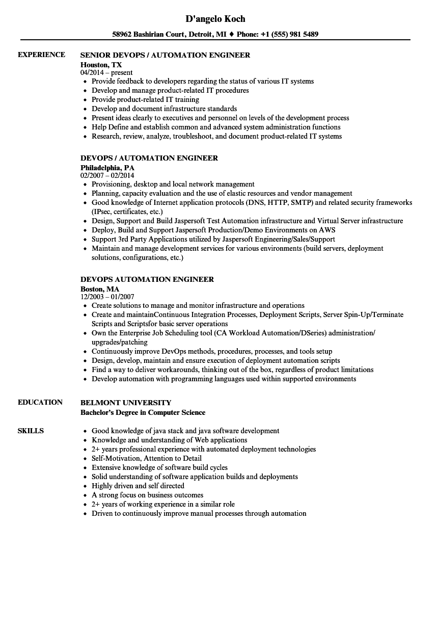 Devops Automation Engineer Resume Samples Velvet Jobs