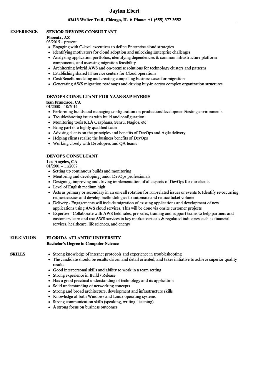 Devops Consultant Resume Samples Velvet Jobs