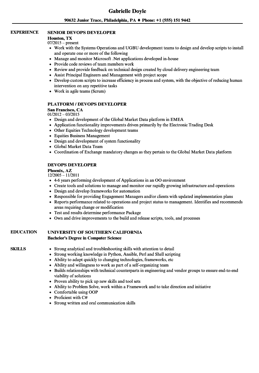 devops developer job description