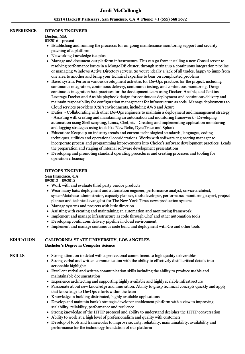 devops engineer resume samples