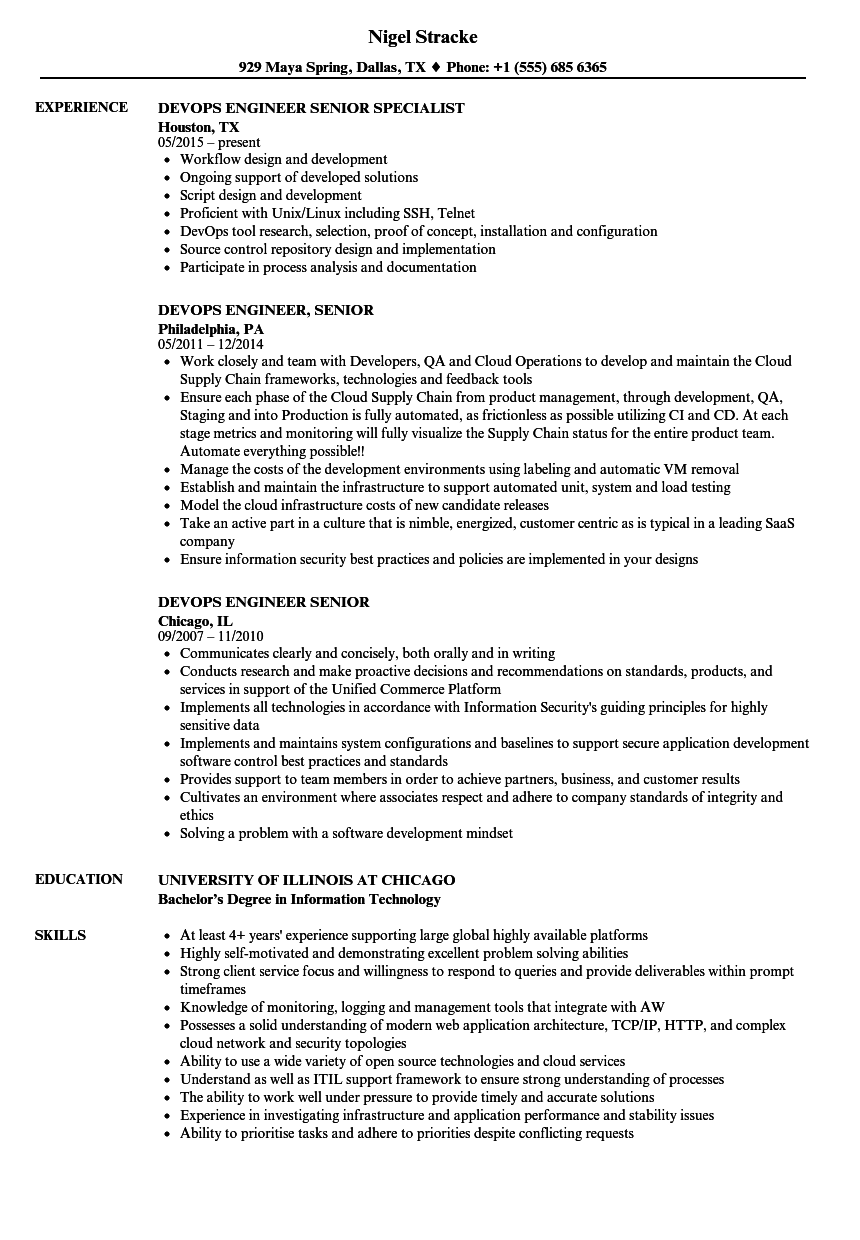 devops engineer  senior resume samples