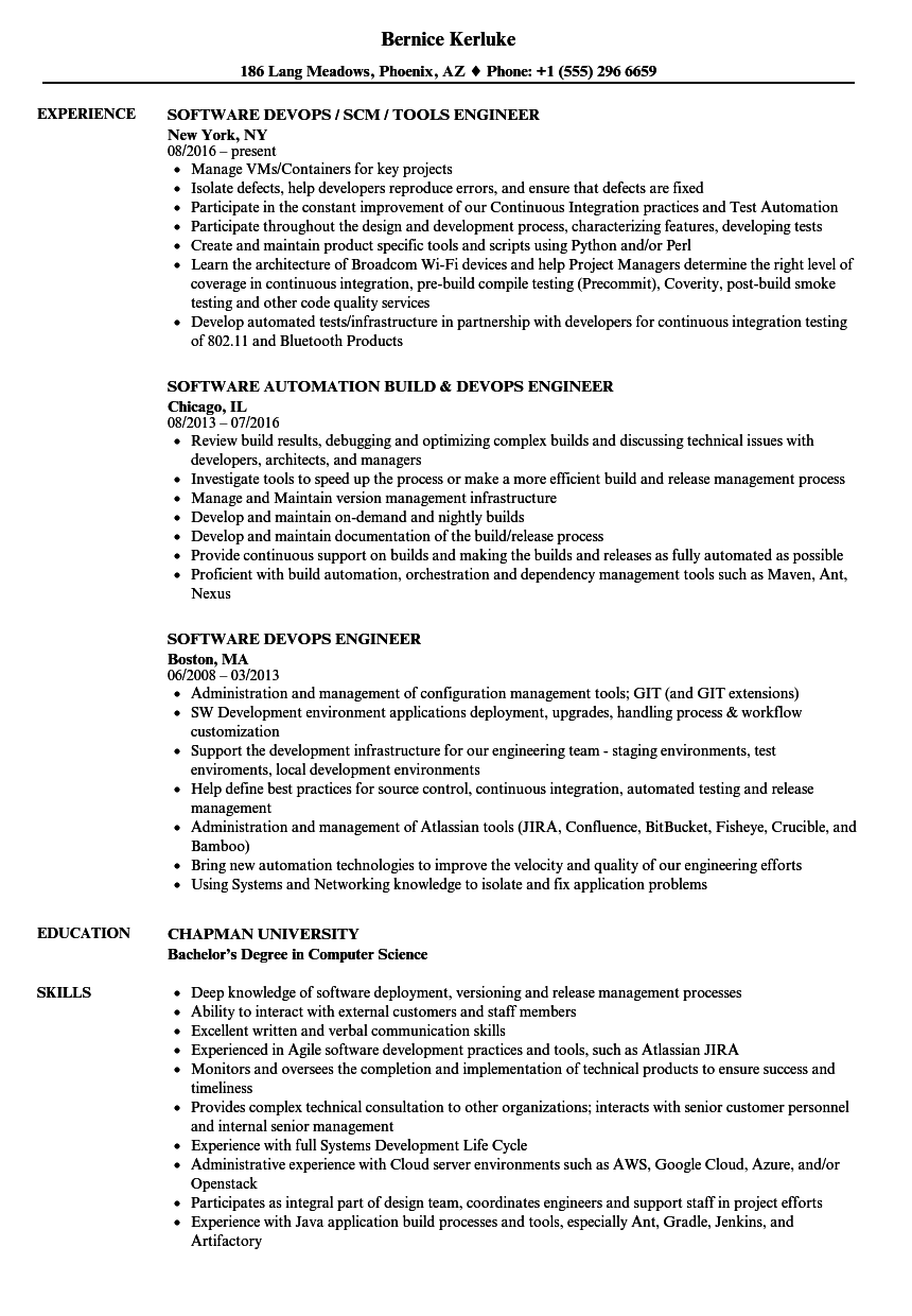 Devops Engineer / Software Engineer Resume Samples | Velvet Jobs