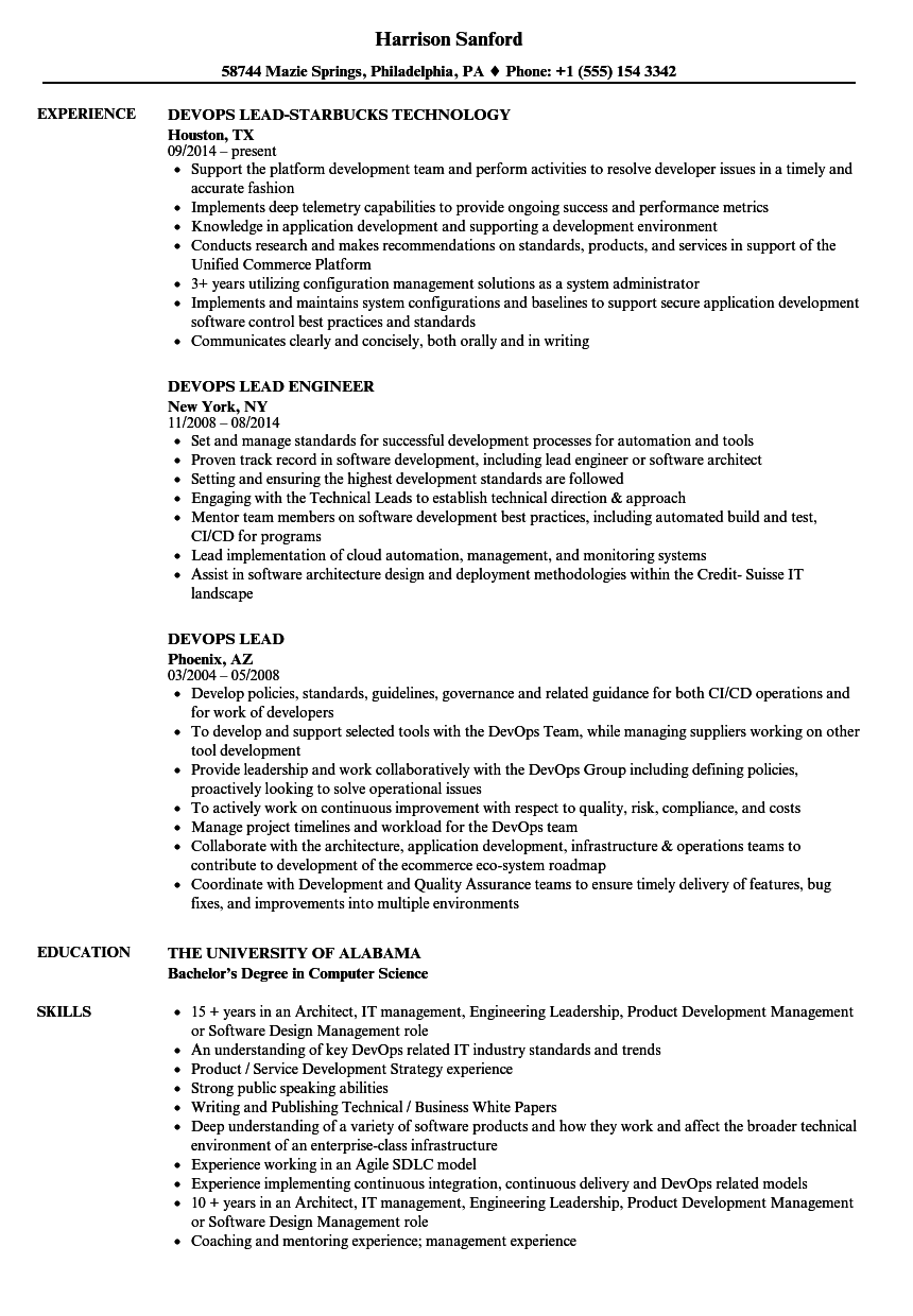 devops lead resume samples