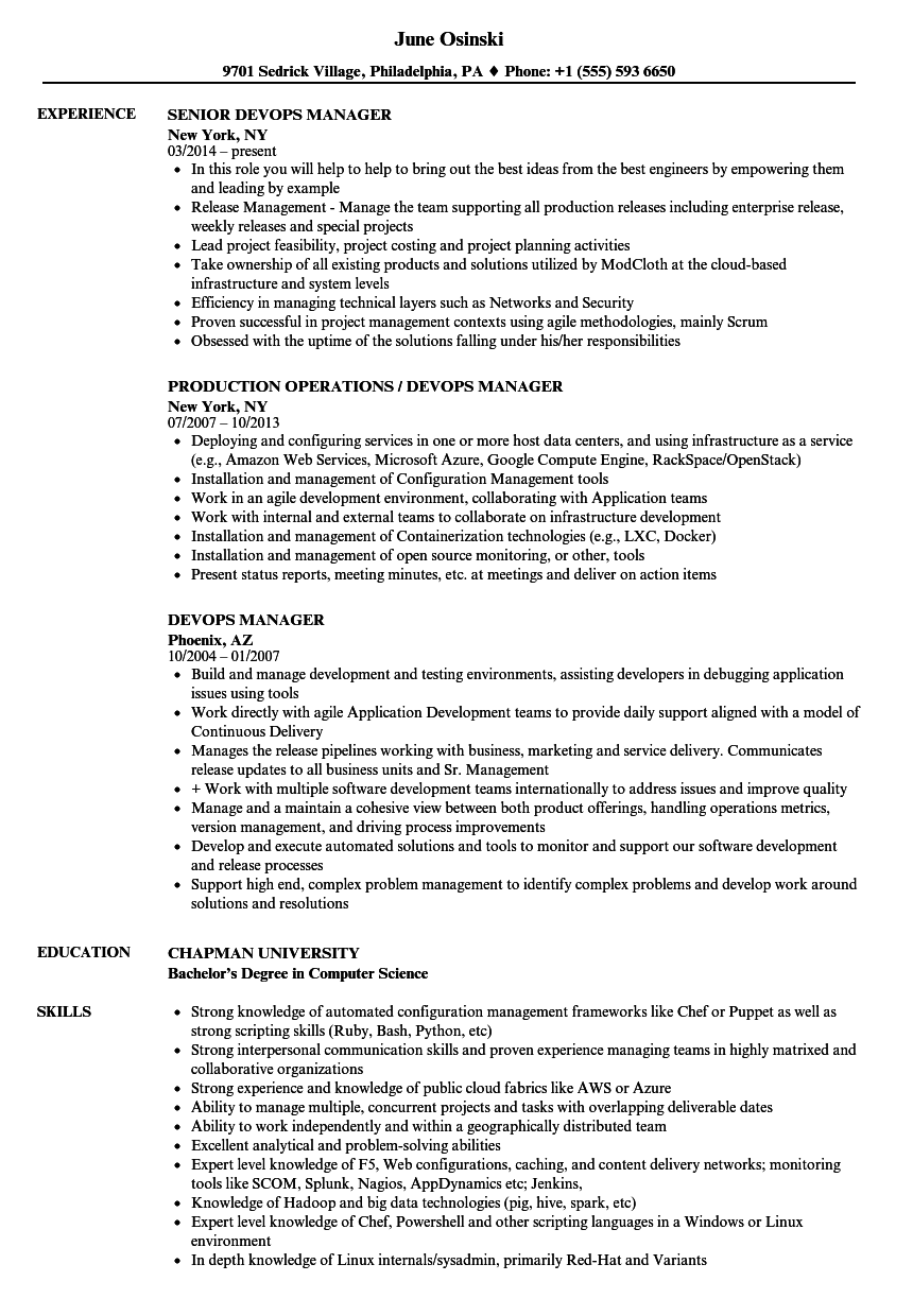 Devops Manager Resume Samples Velvet Jobs