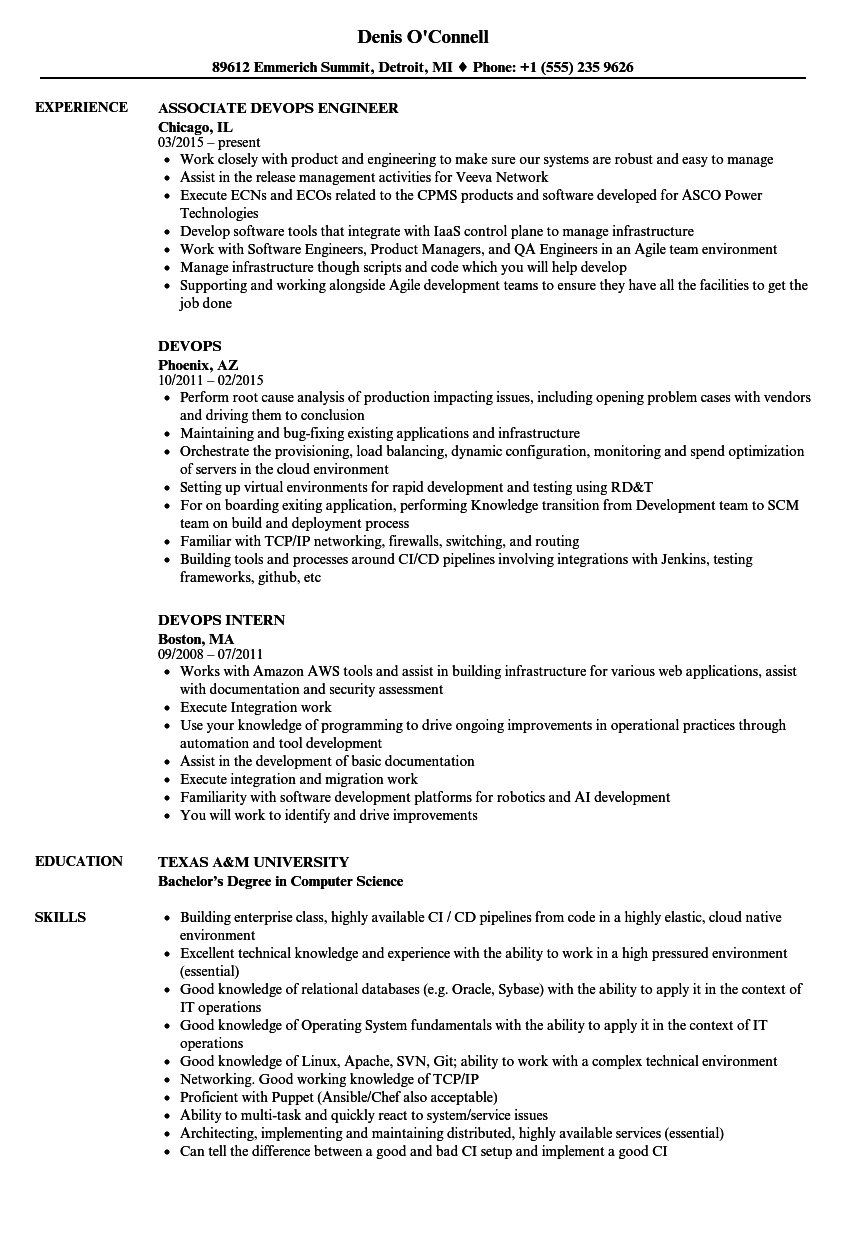 Devops Resume Samples Velvet Jobs