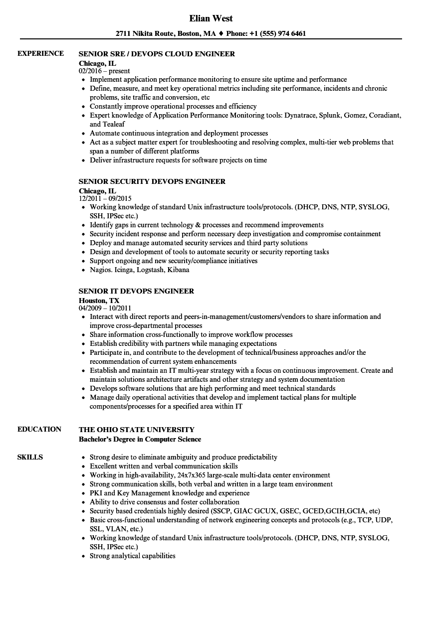 Devops Senior Engineer Resume Samples Velvet Jobs