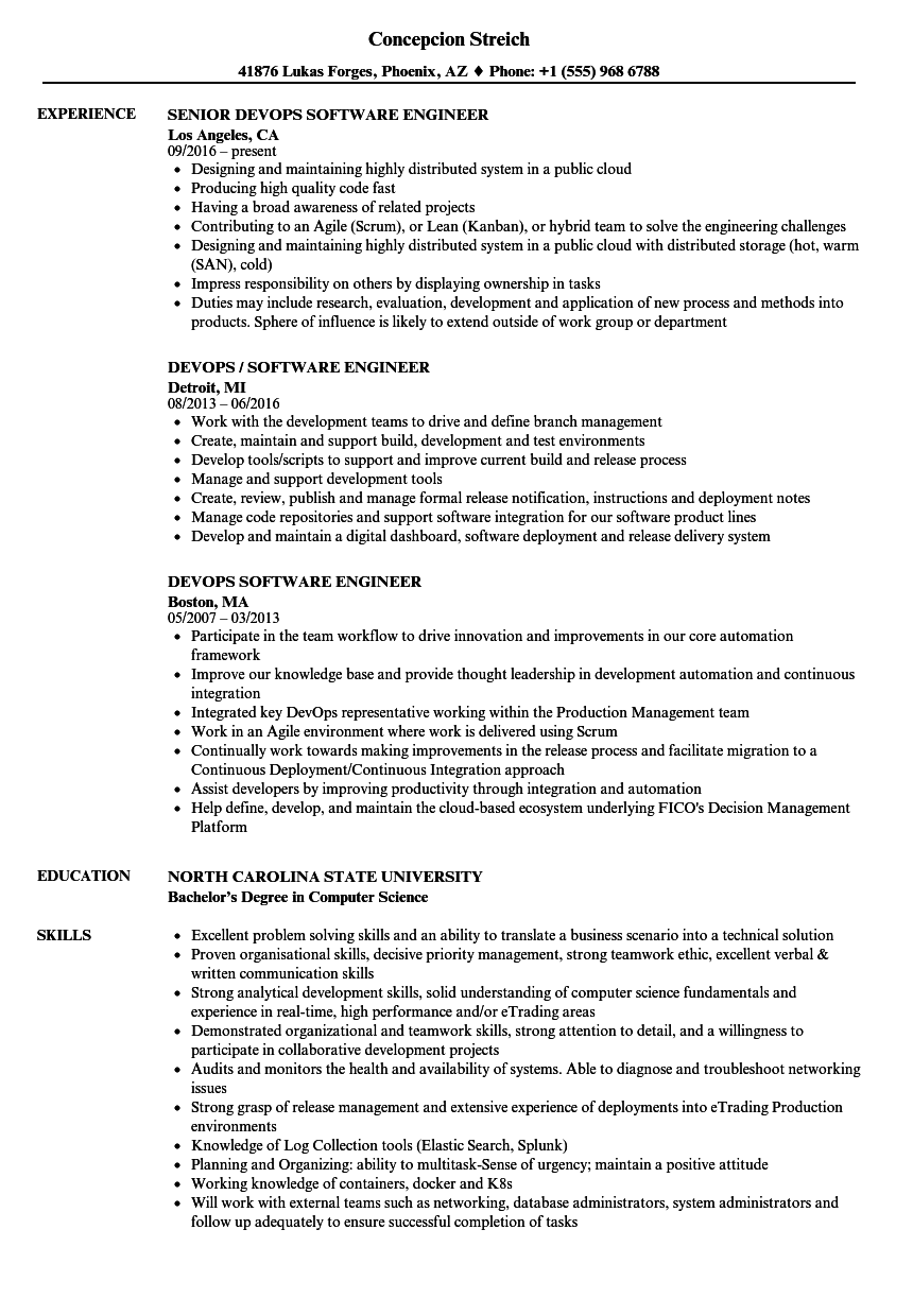 devops software engineer resume samples