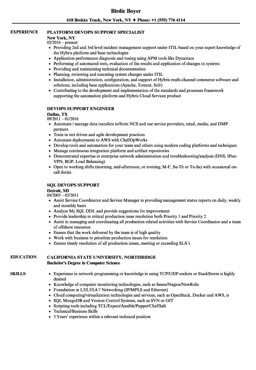 Download Devops Support Resume Sample As Image File